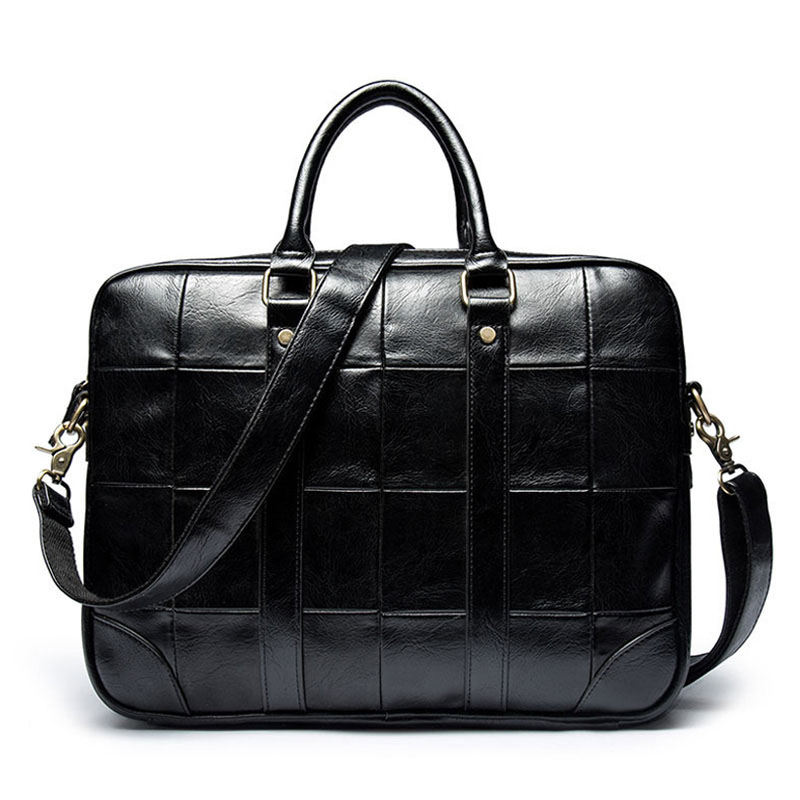 Men's Leather Laptop Bag Office For Men Briefcase 14'' Computer Bag Plaid Handbags Man Business Shoulder Bag Sac Homme XA251ZC