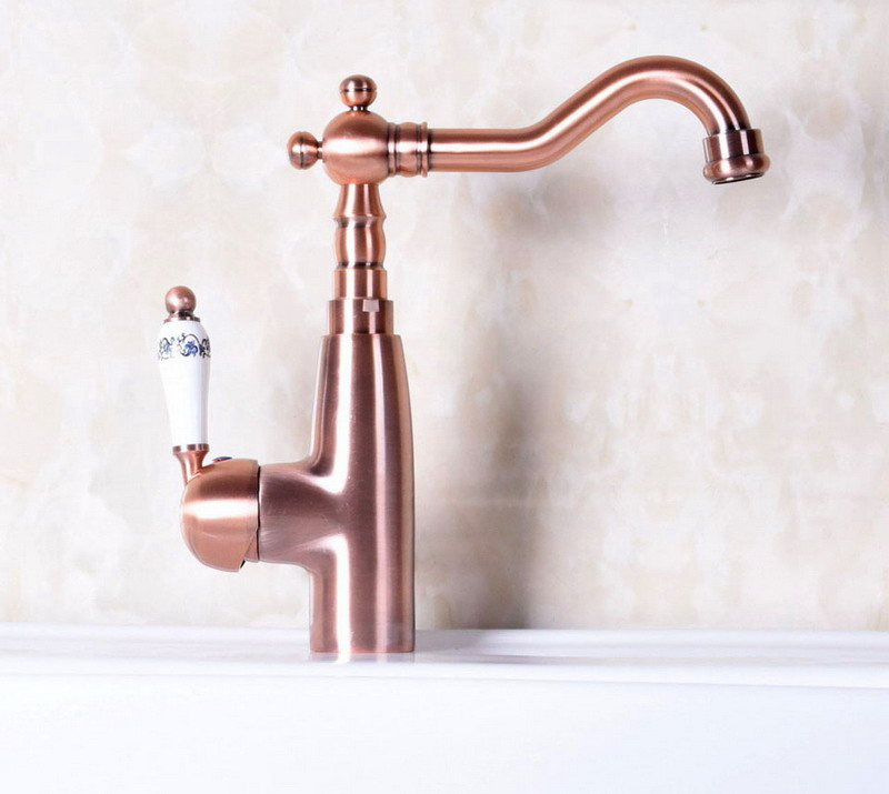 Antique Red Copper Brass Single Ceramic Handle Bathroom Kitchen Basin Sink Faucet Mixer Tap Swivel Spout Deck Mounted Mnf133