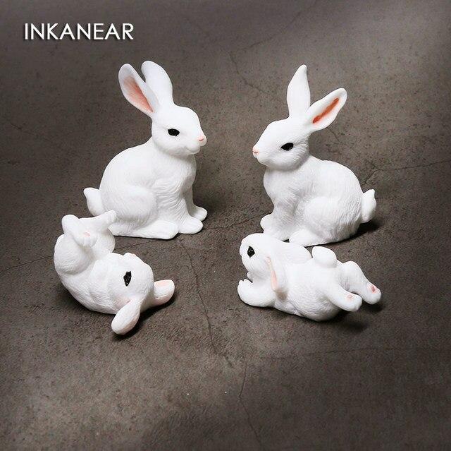 Cute Rabbits Family Figurine Simulation Farm Animal Model Miniature Fairy Garden Decoration Statue Resin Craft