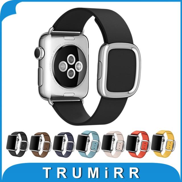 1:1 moderna hebilla correa para iwatch apple watch 38mm 42mm granada venda del cuero genuino correa de pulsera magnética 7 colores