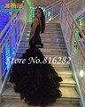 New Sexy africano V preto sereia vestidos 2016 Backless Organza capela trem Ruffles vestido de festa de formatura