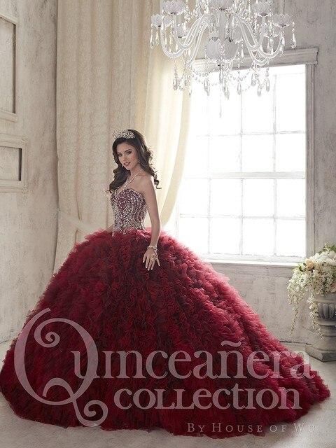 2016 Wine Red Hot Contas Cristais vestido de Baile Vestidos Quinceanera Sweet 16 Vestidos de Babados de Organza Baratos Vestidos De 15 Años QD36