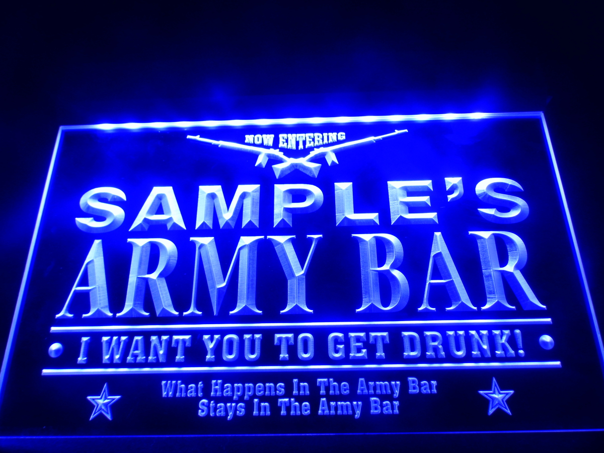 DZ060 Name Personalized Custom Army Man Cave Bar Beer Neon