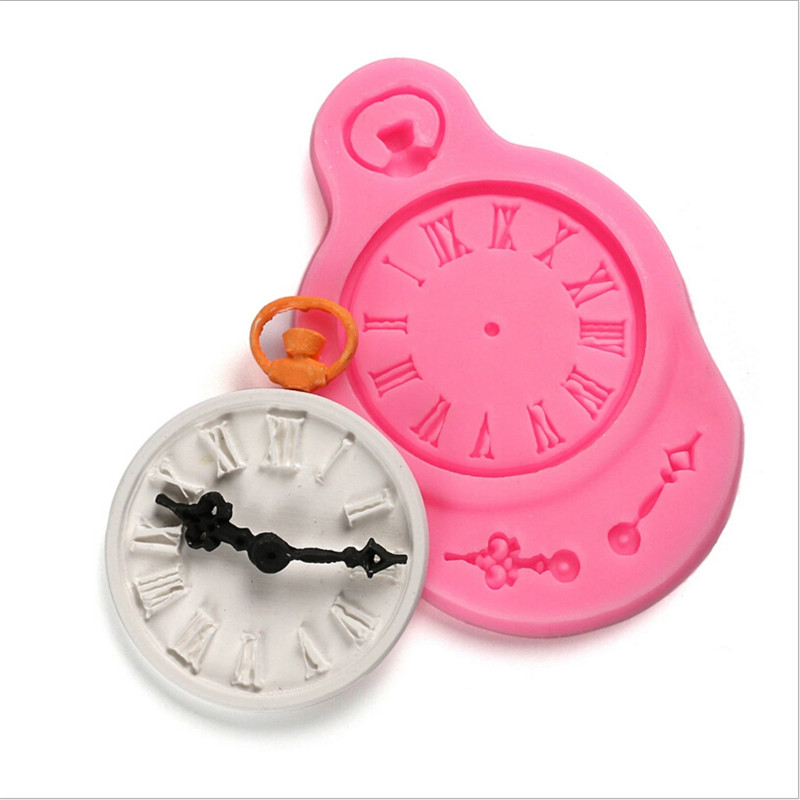 Cupcake Design Kitchen Accessories: Silicone Fondant Cake Mold Clock Pocket Watch Cupcake