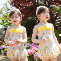 2017 Koştu Polyester Sevimli Bebek Mayo Marka Yeni Dantel Çocuk Mayo Yaz Plaj Elbise Tek Parça Mayo Fcsw155