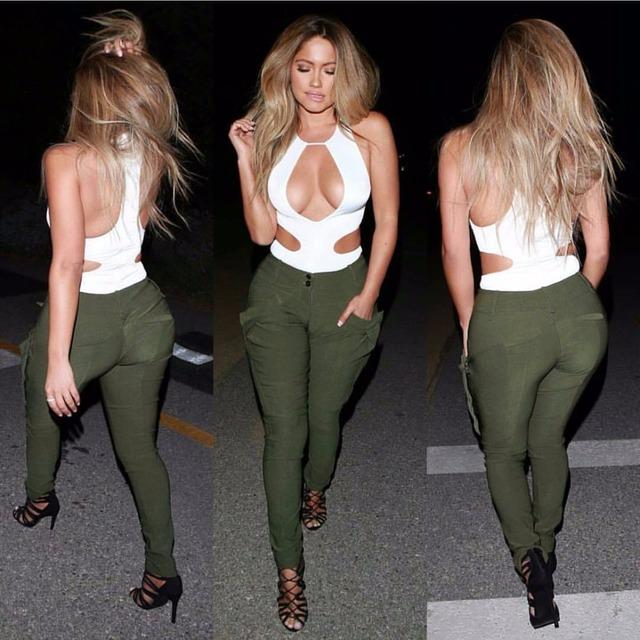 2016 em Estilo Europeu e Americano Mulheres Moda Slim Casual Dois pedaço Magro Sexy Oco Tops e Calças Compridas Terno Mulheres conjunto