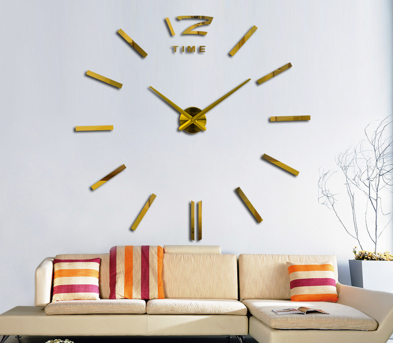 16 new hot sale wall clock watch clocks 3d diy acrylic mirror stickers Living Room Quartz Needle Europe horloge free shipping 3