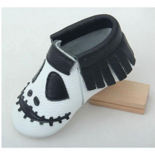 Marca 2017 Nuevos estilos De Halloween de Cuero Genuino Mocasín Bebé Soled Suaves Del Bebé Zapatos Recién Nacidos zapatos Infantiles Envío Libre