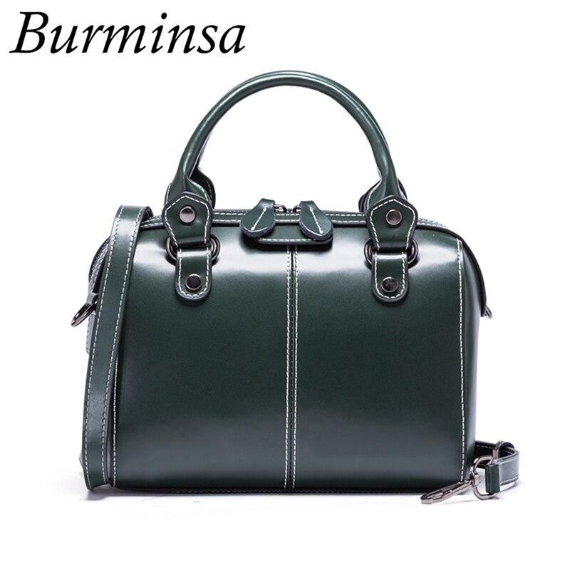 Burminsa Boston Ladies Genuine Leather Bags Luxury Female Calfskin Pillow Tote Designer Shoulder Bags For Women