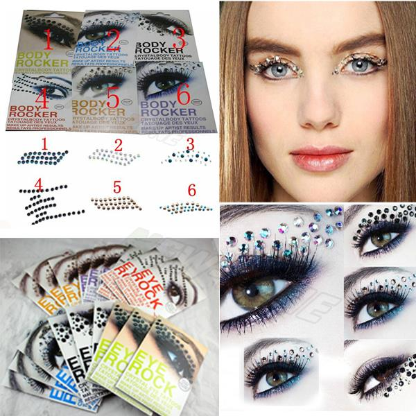 Eye makeup 3d eye tattoos crystal decoration party makeup for Crystal eye tattoos