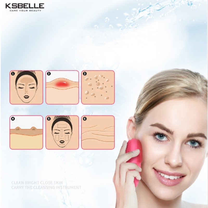 Skin Face Care Mini Electric Facial Cleaning Massage Brush Washing Machine Waterproof Silicone Cleanser Dirt Remove electric face brush women silicone facial cleansing massager brush skin care cleanser dirt remove exfoliator cleaning tool