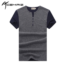 ACEMIRIZ Men Patchwork T-Shirt Short Sleeve Slim Tees Button Solid Man Casual Blue Gray White 2017 Summer Hot Sale Tshirt 2166