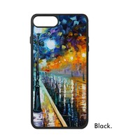 Oil Painting Artwork Street Lamp Night Coloful Snow Scene City Famous Phone Case For IPhone X