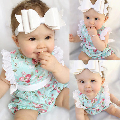 Cute Newborn Toddler Baby Girl Clothes Lace Floral Cotton Green Sleeveless Romper Body Outfits 0-24M