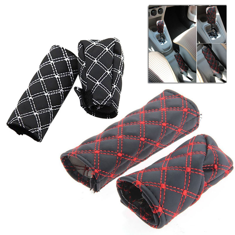 Universal Car Gear Shift Knob Pu Leather Shifter Lever Stick + Parking Brake Cover F-Best