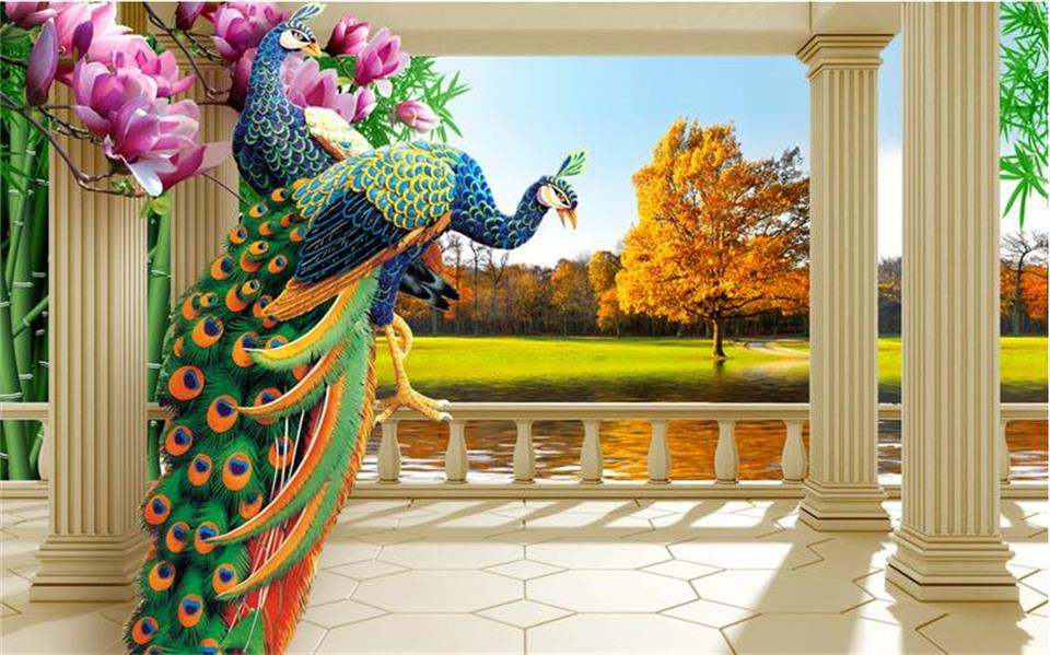 3d custom photo mural 3d wallpaper peacock fortune tree setting wall decor painting 3d wall murals
