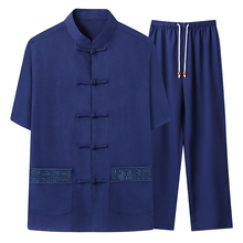 Summer Men Oriental Tunic 2PCS Pant Suits Sets Ethnica Tangzhuang Ensemble Homme Chinese Cotton Shirt And Trouser Suit Outfits