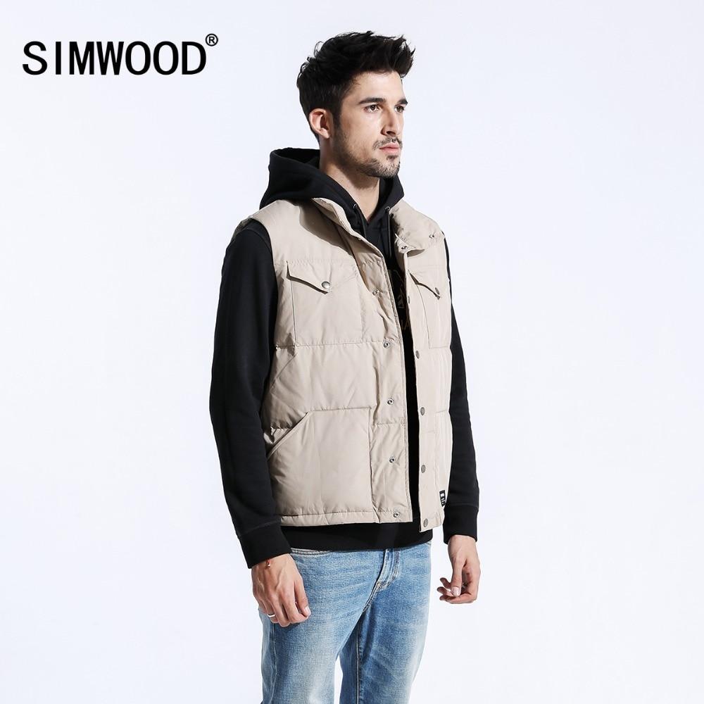 SIMWOOD Grey Duck   Down   Vest Men 2019 Autumn Winter New Warm Sleeveless Jackets Fashion Slim Fit   Coats   High Quality 180380