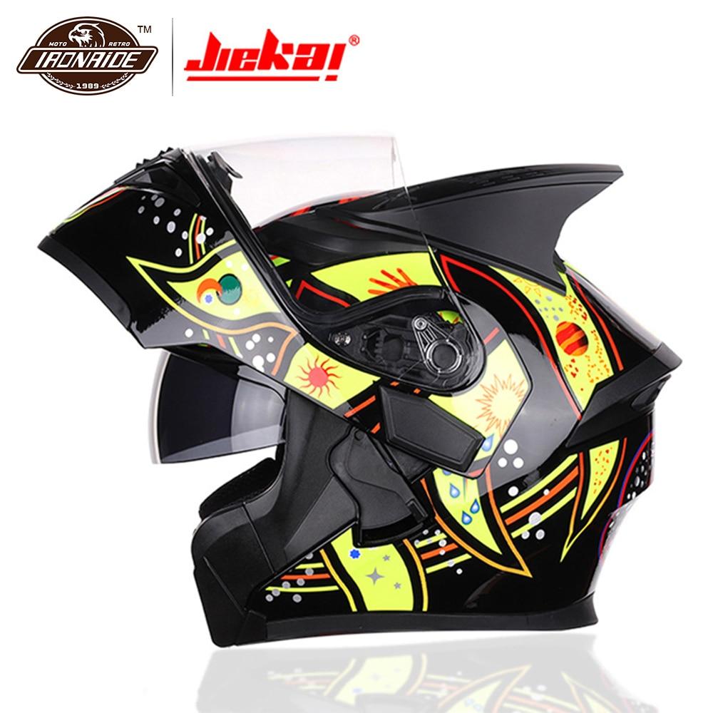 JIEKAI Flip Up casque de Moto casque de Moto modulaire avec pare-soleil intérieur sécurité Double lentille course casque intégral