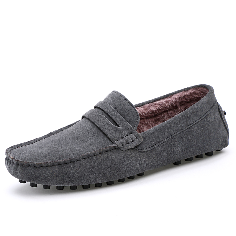 Cotton Warm Simple Plain Design Men Loafers Casual Shoes Men Flock   Leather   Shoe Slip On Mens Shoes Winter Flats 46