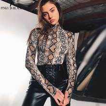 PinkyIsBlack snake skin grain print long sleeve high neck bodysuits 2019 autumn women street fashion sexy snakeskin bodysuit
