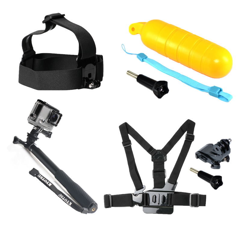 Action Camera Accessories Bundles Mount Kit Floating Grip Head Strap Chest Belt Head Monopod Tripod Mount