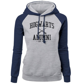 HOGWARTS ALUMNI Letter Print Women's Sweatshirt 2018 Autumn Winter Fleece Raglan Hoody Brand Clothing Fashion Pullover Harajuku