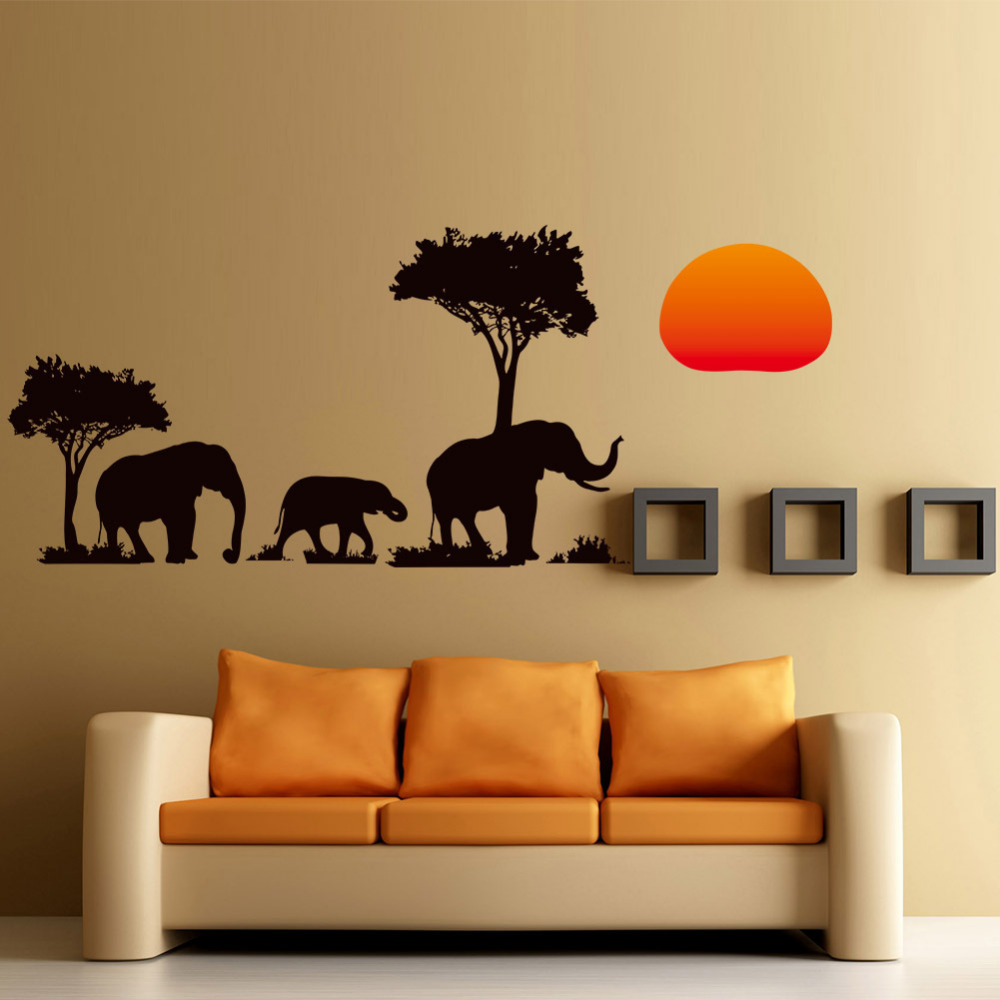 Mbërritja e re e xhunglës së egër Cartoon Tree Elephant Sunset Decalable Removalable Shtëpi Dekor Sticker Wall Waller Wallpaper Sofa Wall DIY Dekor