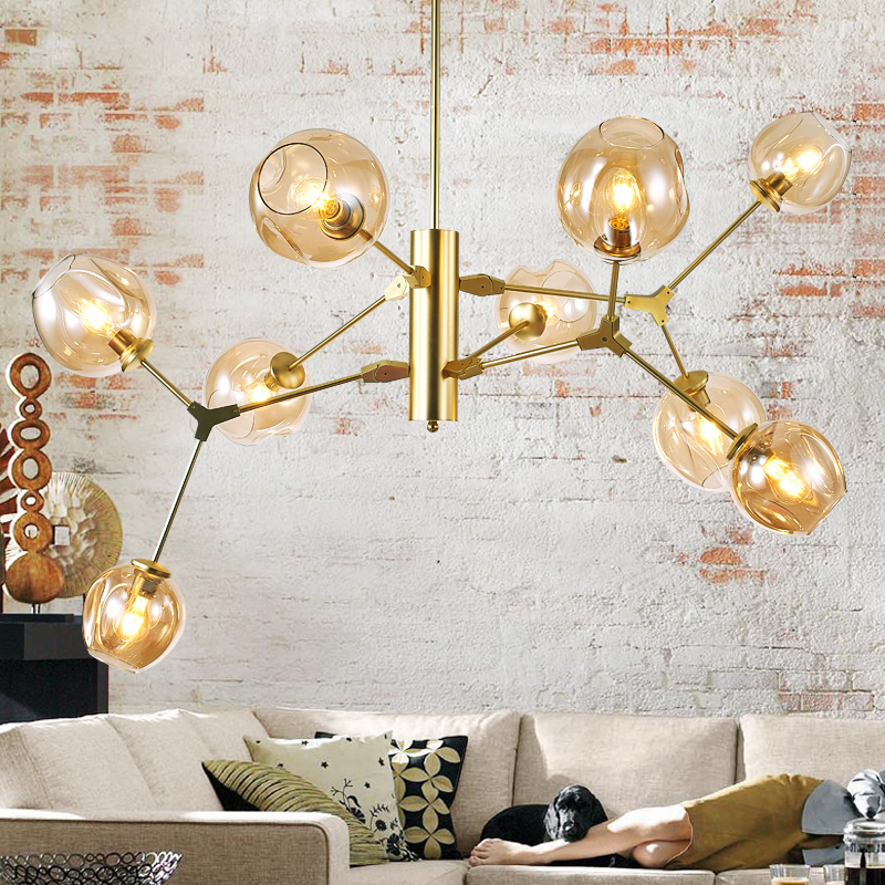 2016 New modern american chandelier golden black metal molecular ceiling lamp Crystal Smoke Amber glass lampshade Home lighting
