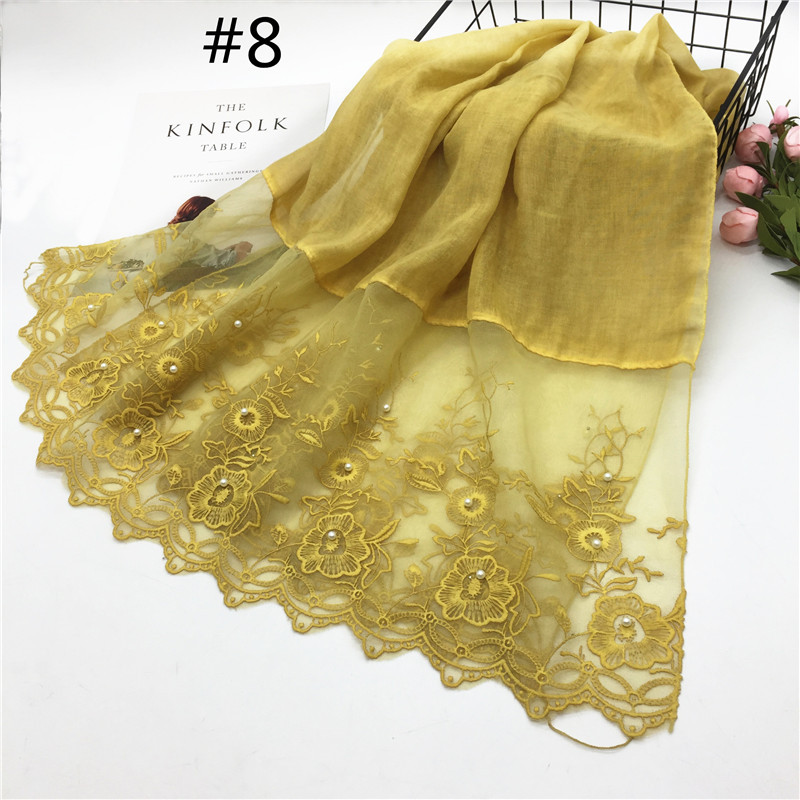 Fashion embroidery scarves shawl femme pearl lace edges veil stitching cotton muslin hijabs headscarf women brand