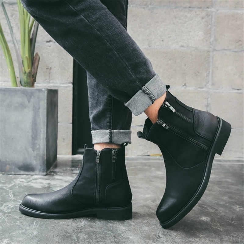 Yeni Erkek Chelsea Çizmeler yarım çizmeler Hakiki Deri Erkek Botları Erkekler iş ayakkabısı Martin Çizmeler Erkek Büyük Boy erkek ayakkabısı Güvenlik Ayakkabıları