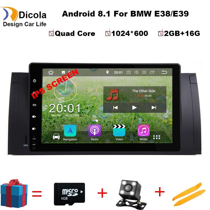 IPS HD Android 8.1 Quad Core 2 gb RAM 16 gb ROM GPS carte De Voiture Lecteur DVD Radio Wifi Bluetooth pour BMW E39 E38 X5 E53 M5 Gamme Rover
