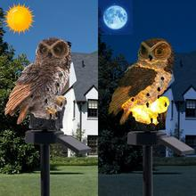 HobbyLane Brown Owl Shape Solar-Powered Waterproof IP65 Lawn Lamp for Outdoor Yard Garden Lighting Decoration