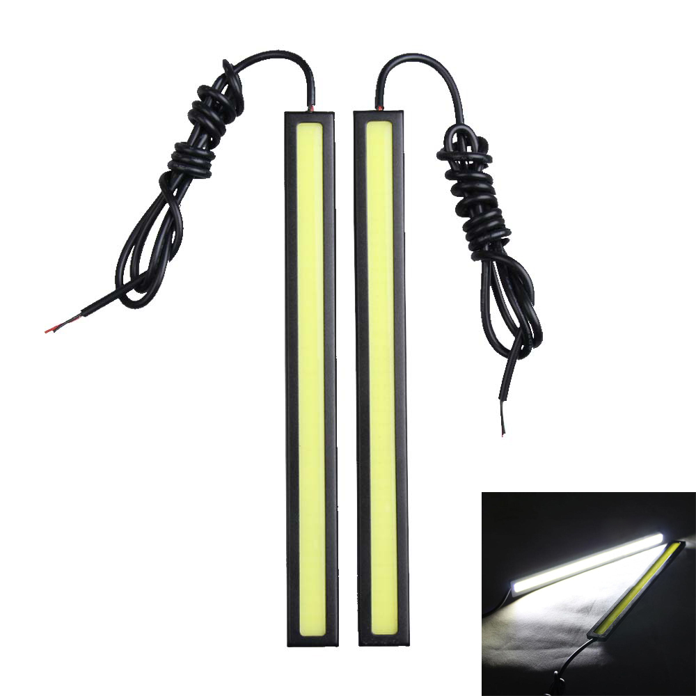 2Pcs Car-styling LED Daytime Running Light Bar Automotive COB Driving Lamp Automobiles White DRL Fog Lamp Strip 17cm 12V suprer bright 2pcs 30cm 12v daytime running lights waterproof car drl cob driving fog lamp flexible led strip car styling