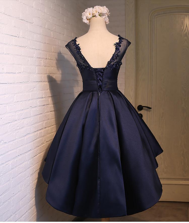 Elegant Satin Navy Blue Sleeveless Cocktail Dress 3
