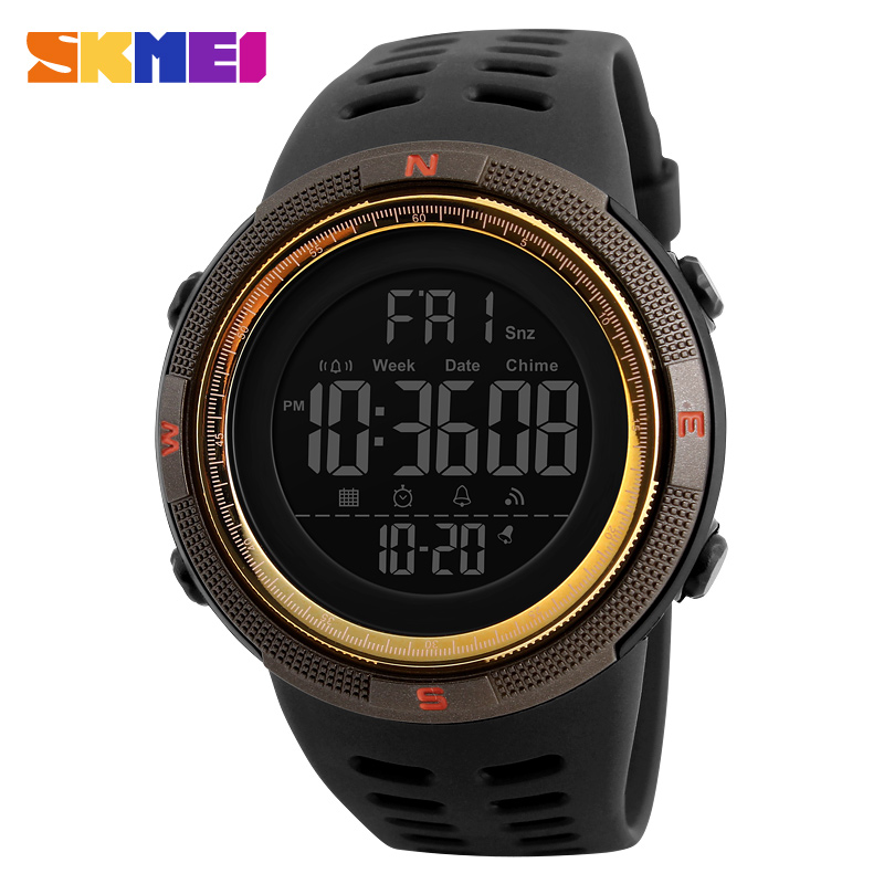 SKMEI Fashion Mens Rubber Banded Sports Watches Countdown Double Time Alarm Digital Wristwatch Resin Chronograph Back Light SKMEI Fashion Mens Rubber Banded Sports Watches Countdown Double Time Alarm Digital Wristwatch Resin Chronograph Back Light