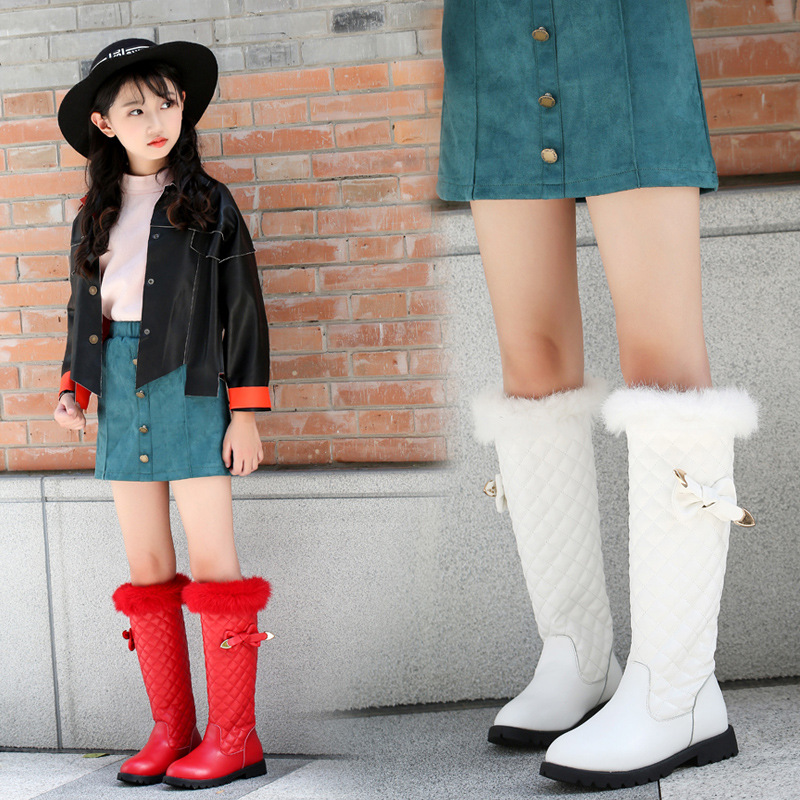 2018 Autumn Winter New Children's Snow Boots Girls Genuine Leather Princess Shoes Fashion Bow Rabbit Hair Knee- High Boots new style 2017 girls classical boots autumn and spring fashion leather boots with bow bottom princess warm high quality shoes