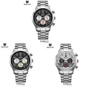 Image 5 - Часы хронограф мужские спортивные из нержавеющей стали, 5107