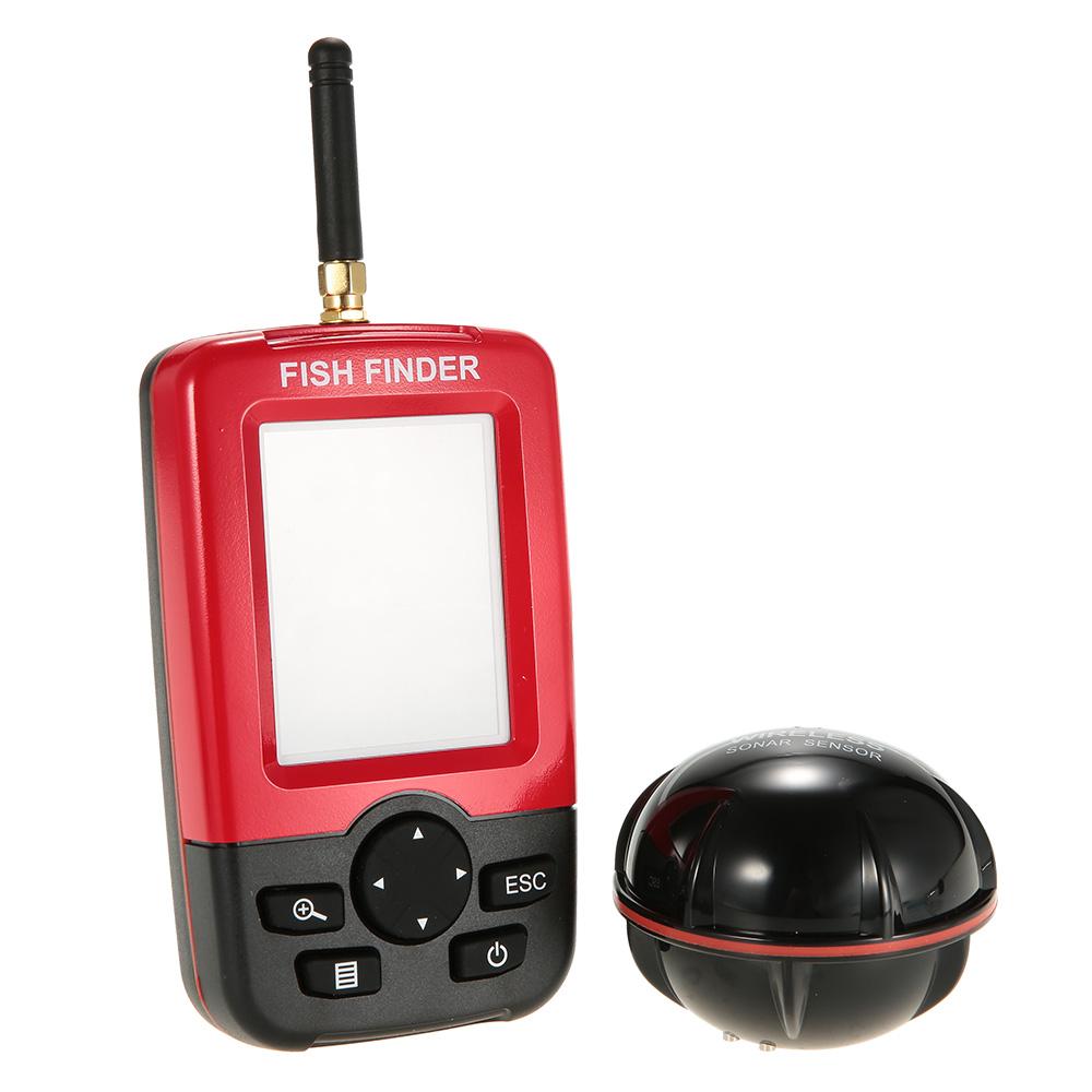 Prix pour Portable Sans Fil Fish Finder De Pêche Sondeur 125 kHz Sonar Sondeur Gamme 0.6-45 M Alarme Capteur Sondeur