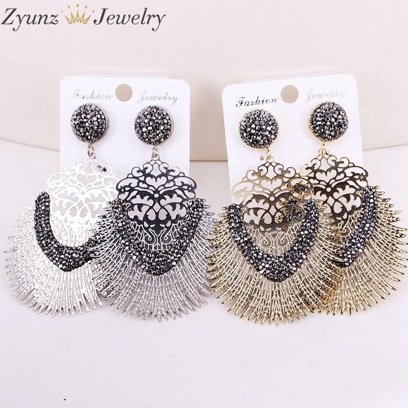 5Pairs ZYZ307 0091 Gold Silver Earrings Fashion Design Drop Shaped Pendant Metal Copper Dangle Earrings for