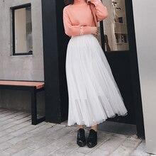 Buenos Ninos Fashion Women Elegant Chiffon Long Skirts Solid Color High Waist Pleated Maxi Women Casual Skirts chic solid color flouncing pleated wearable chiffon pashmina for women
