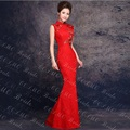 bridal qipao lace wedding dress married formal dress red slim modern long cheongsam design chinese style mermaid evening dress