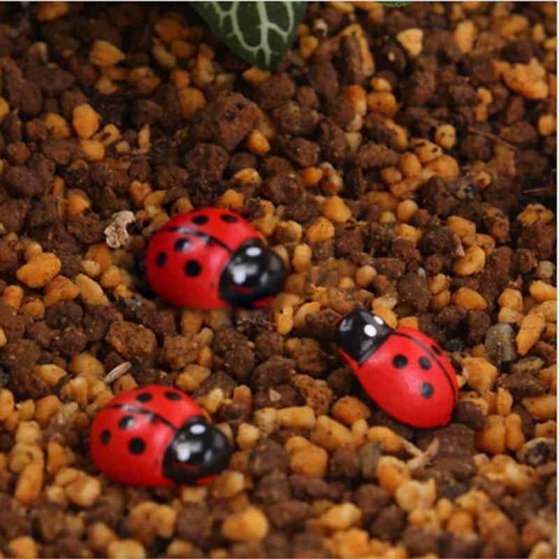 Pizies 10Pcs Mini Wooden Ladybug Shape Sponge Self-adhesive Stickers Cute Baby Fridge Sticker Action Toy Figures miniature toys