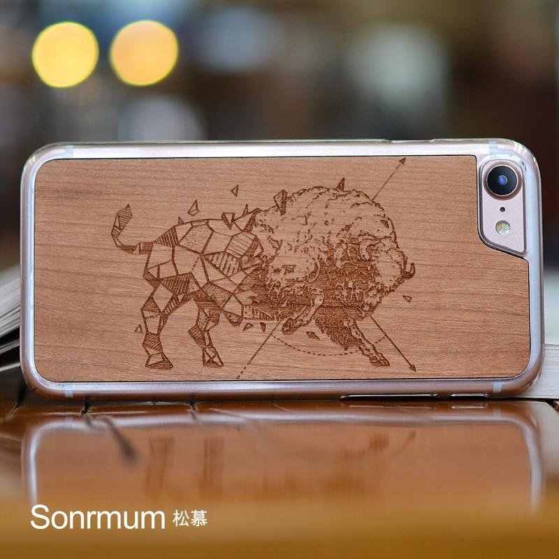 Bullfight Carved Natural Wood Nytt varumärke tunn lyxindividation - Reservdelar och tillbehör för mobiltelefoner