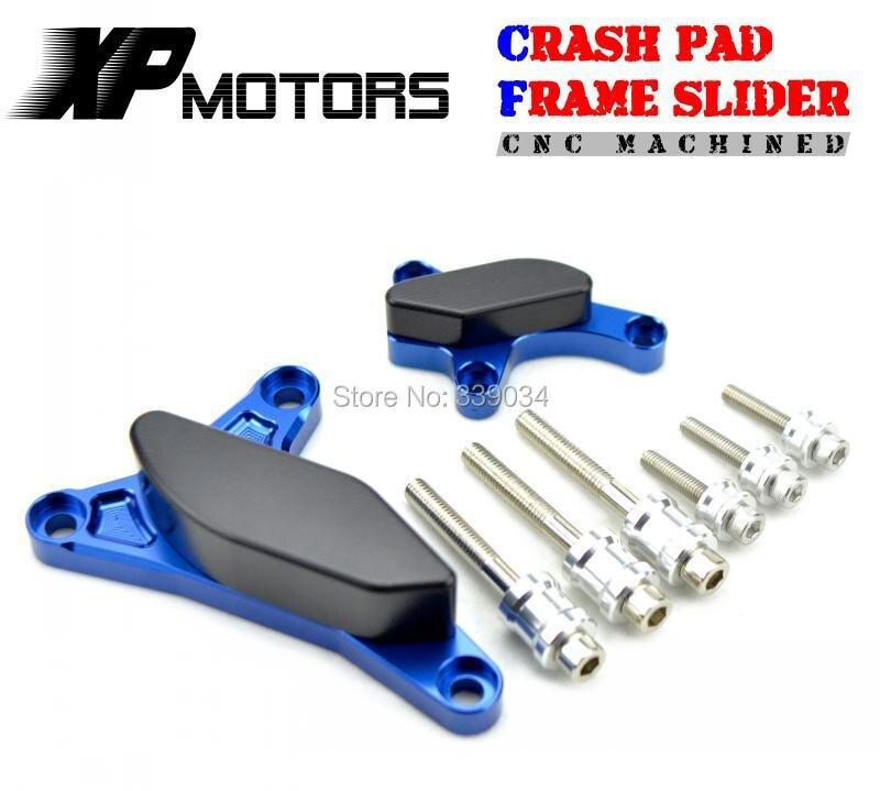 Blue CNC Billet Engine Cover Frame Slider Crash Pad For Yamaha YZF-R1 2007 2008
