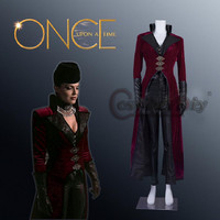 Косплэй DIY Once Upon A Time Evil Queen Regina красный Косплэй костюм Для женщин средневековые костюмы для Хэллоуина комплект индивидуальный заказ