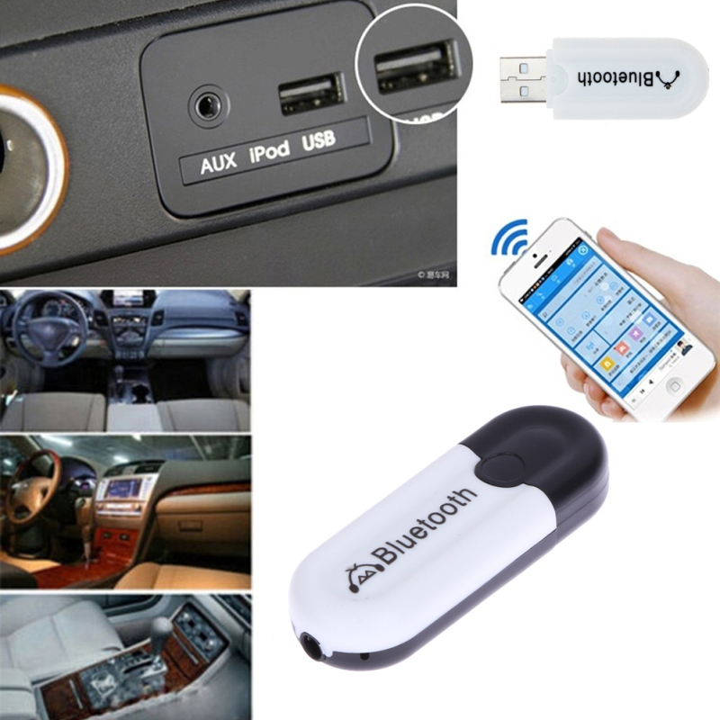 Doble salida 3.5mm Coche USB Bluetooth Receptor Receptor inalámbrico de audio Receptor Dongle para todos los dispositivos Bluetooth estéreo A2DP