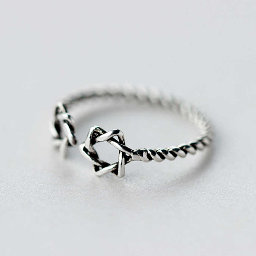 QIAMNI прекрасный счастливый двойной звезды витой открытый кольцо для женщин девочек Рождественский подарок ювелирные изделия в стиле минимализма