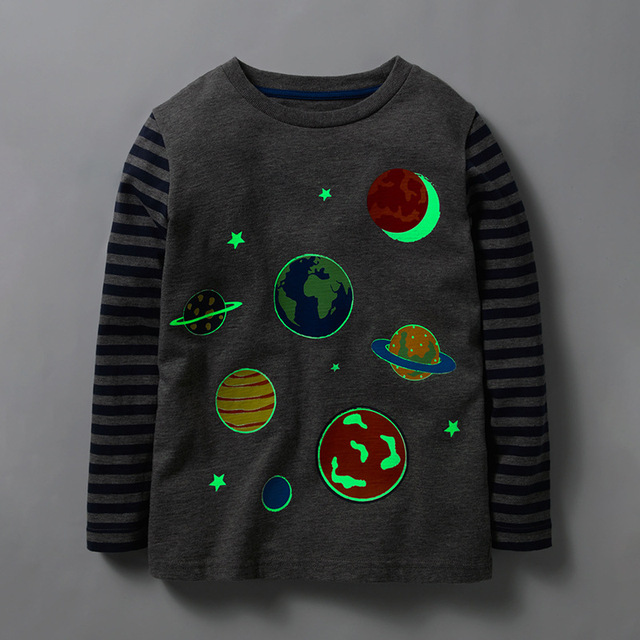 Little maven 2-8Years Autumn Luminous Universe Planet Boys Long Sleeve T Shirts Toddler Kids Fall Clothing Children's Clothes 1