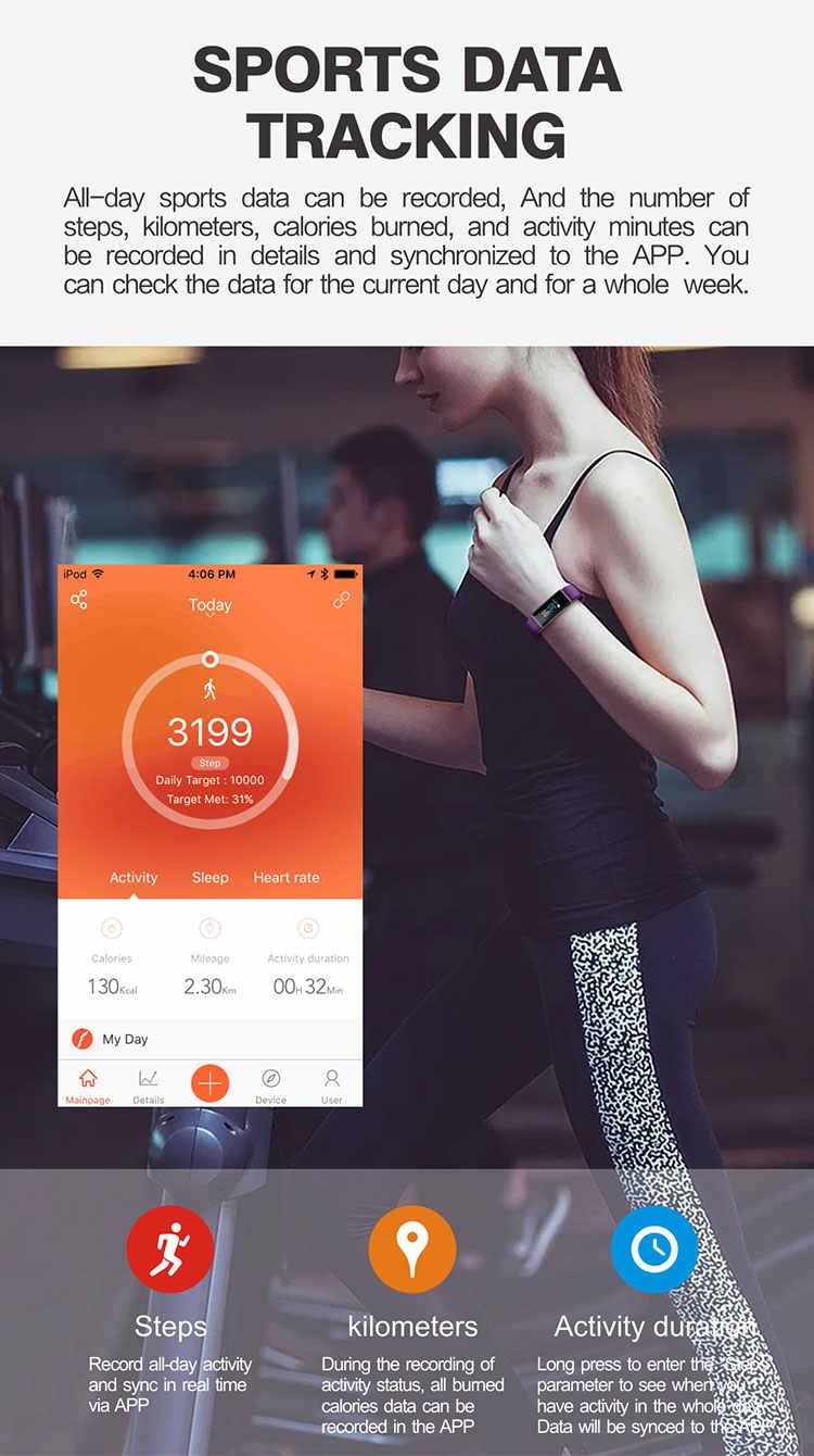 لون الشاشة الذكية معصمه الفرقة سوار القلب carories النشاط اللياقة الرياضية تعقب لسامسونج غالاكسي s5 s4 s3 مصغرة